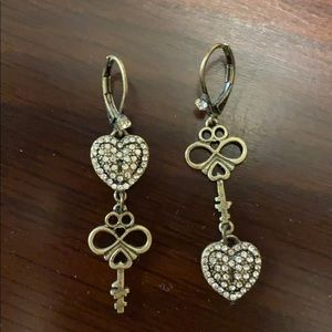 Betsey Johnson Key & Heart Earrings
